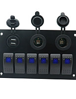 cheap -6 GANG Blue LED Switch Panel ON-OFF Rocker Toggle for Car Boat Marine 12V IP67