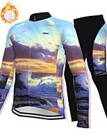 cheap -21Grams Men's Long Sleeve Cycling Jacket with Pants Winter Fleece Spandex Purple Bike Fleece Lining Warm Sports Graphic Mountain Bike MTB Road Bike Cycling Clothing Apparel / Stretchy / Athleisure