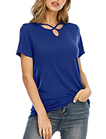 cheap -short sleeve shirts for women - v neck t shirt summer loose casual basic tee tops (a_navy blue, small)