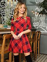 cheap -Women's Sheath Dress Short Mini Dress - Half Sleeve Geometric Patchwork Print Summer Fall Elegant Casual 2020 Blue Red Yellow Gray S M L XL XXL