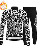 cheap -21Grams Men's Long Sleeve Cycling Jersey with Tights Winter Fleece Polyester Black Bike Clothing Suit Thermal Warm Fleece Lining Breathable 3D Pad Warm Sports Graphic Mountain Bike MTB Road Bike