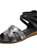 cheap -Women's Sandals Wedge Heel Round Toe Casual Roman Shoes Daily Walking Shoes PU Snake Almond Black Pink