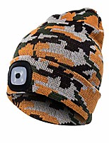 cheap -knitted hat with light, unisex winter warmer knitted cap, usb rechargeable led hat, hands free headlight cap, removable, washable and dimmable for jogging, camping, bbq camouflage yellow