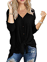 cheap -womens waffle knit tunic long sleeve button down tie knot henley tops loose fitting bat wing shirts(black,xx-large)