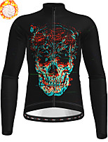 cheap -21Grams Men's Long Sleeve Cycling Jersey Winter Fleece Polyester Black Skull Bike Jersey Top Mountain Bike MTB Road Bike Cycling Fleece Lining Breathable Warm Sports Clothing Apparel / Stretchy