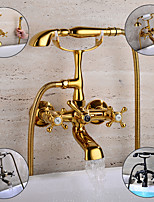 cheap -Bathtub Faucet - Retro Antique Royal Style Wall Mounted / Deck Mounted Bath Roman Tub Bath Shower Mixer Taps with Handheld Shower for Wash Shower Room