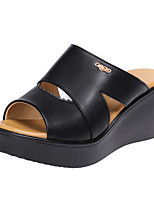 cheap -Women's Sandals Wedge Heel Peep Toe Classic Daily PU Solid Colored White Black Red