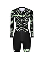 cheap -Men's Women's Long Sleeve Triathlon Tri Suit Polyester Black Polka Dot Bike Clothing Suit Breathable 3D Pad Quick Dry Reflective Strips Sweat-wicking Sports Polka Dot Mountain Bike MTB Road Bike