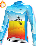 cheap -21Grams Men's Long Sleeve Cycling Jacket Winter Fleece Spandex Sky Blue Bike Jacket Mountain Bike MTB Road Bike Cycling Fleece Lining Warm Sports Clothing Apparel / Stretchy / Athleisure