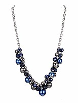 cheap -short chain pendant necklaces for women - silver fashion jewelry with pearl and crystal bead, birthday gifts for women(36-navy blue)