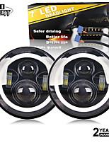 cheap -2 Pcs 7 Inch Headlight Auto Led Headlight for 4x4 UAZ Lada Niva White Yellow Angel Eye H4 H13 Hi Lo Beam 50W 30W 10-30V
