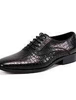 cheap -Men's Oxfords Business Casual British Daily Party & Evening Cowhide Handmade Non-slipping Wear Proof Black Coffee Fall Winter