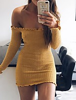 cheap -Women's Sheath Dress Short Mini Dress - Long Sleeve Solid Color Ruffle Patchwork Fall Off Shoulder Casual Cotton Slim 2020 White Black Red Yellow S M L XL