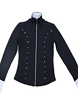 cheap -Figure Skating Fleece Jacket All Ice Skating Tracksuit Black Spandex High Elasticity Training Skating Wear Patchwork Solid Colored Crystal / Rhinestone Long Sleeve Ice Skating Figure Skating / Kids