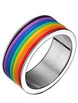 cheap -high polished stainless steel & silicone rainbow ring for lgbt pride us size 13