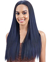 cheap -Synthetic Wig Straight Natural Straight Middle Part Wig Long Black / Blue Synthetic Hair Women's Soft Middle Part Black Blue