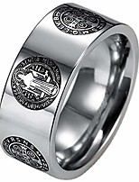 cheap -8mm stainless steel saint benedict exorcism ring jesus cross demon protection csbp (silver, 13)