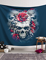 cheap -Wall Tapestry Art Decor Blanket Curtain Hanging Home Bedroom Living Room Decoration Polyester Fiber Still Life Strange Skull Red Rose