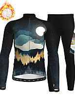 cheap -21Grams Men's Long Sleeve Cycling Jersey with Tights Winter Fleece Polyester Black Bike Clothing Suit Thermal Warm Fleece Lining Breathable 3D Pad Warm Sports Nature & Landscapes Mountain Bike MTB