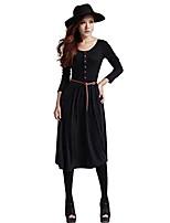 cheap -womens long sleeve casual long knit midi dress black