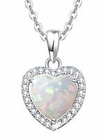 """cheap -sterling silver white opal necklace cubic zirconia cz fire opal halo heart/teardrop/oval pendant fine jewelry for women girls 16""""+2"""" extender (3 prong heart)"""