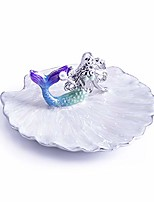 cheap -jewelry tray ring display holder mermaid trinket dish home decorative plate for earrings necklace bracelet organizer display (blue&purple)