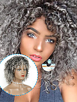 cheap -14 Inches Afro Kinky Curly Synthetic Wig Short Bob Wigs With Bangs Black Silver Grey Natural Color For Black Women