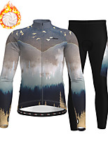 cheap -21Grams Men's Long Sleeve Cycling Jersey with Tights Winter Fleece Polyester Khaki Bike Clothing Suit Thermal Warm Fleece Lining Breathable 3D Pad Warm Sports Printed Mountain Bike MTB Road Bike