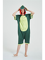 cheap -Adults' Kigurumi Pajamas Dinosaur Onesie Pajamas Pure Cotton Green Cosplay For Men and Women Animal Sleepwear Cartoon Festival / Holiday Costumes