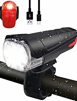 cheap -led bicycle light front light tail light set, [latest] stvzo approved 380 lumen light usb rechargeable bicycle light bike light ipx5 waterproof lamp set set for bicycle, black