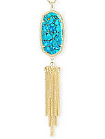 cheap -rayne long pendant necklace for women, fashion jewelry, 14k gold-plated, bronzed veined turquoise