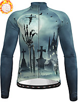 cheap -21Grams Men's Long Sleeve Cycling Jersey Winter Fleece Polyester Grey Skull Christmas Bike Jersey Top Mountain Bike MTB Road Bike Cycling Fleece Lining Warm Quick Dry Sports Clothing Apparel
