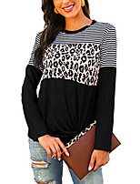 cheap -women's leopard print long sleeve o-neck fit casual tunic shirts blouse tops black01 s