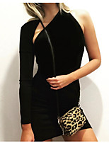 cheap -Women's Sheath Dress Short Mini Dress - Long Sleeve Solid Color Backless Patchwork Fall Halter Neck Casual Sexy Party Slim 2020 Black S M L XL