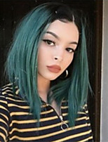 cheap -Synthetic Wig Straight Middle Part Wig Short Black / Green Synthetic Hair Women's Cosplay Soft Color Gradient Green