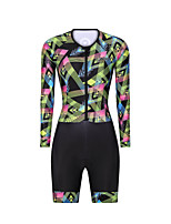 cheap -Men's Women's Long Sleeve Triathlon Tri Suit Polyester Green Bike Clothing Suit Breathable 3D Pad Quick Dry Reflective Strips Sweat-wicking Sports Graphic Mountain Bike MTB Road Bike Cycling Clothing