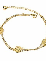 cheap -titanium steel flower anklets for women,14k gold filled adjustable chain beach ankle bracelet foot jewelry (gold)