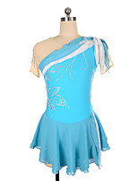 cheap -Figure Skating Dress Women's Girls' Ice Skating Dress Blue Patchwork Asymmetric Hem Spandex High Elasticity Training Competition Skating Wear Crystal / Rhinestone Short Sleeve Ice Skating Figure