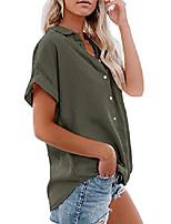 cheap -womens summer button down shirts pocket short sleeve blouse military utility tops