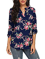 cheap -womens floral casual shirts notch v neck blouses 3/4 sleeve tunic tops(flower rose navy blue, x-small)