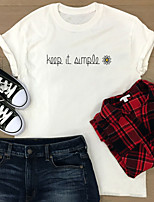 cheap -Women's T-shirt Graphic Prints Letter Print Round Neck Tops 100% Cotton Basic Basic Top White Purple Red