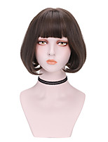 cheap -Synthetic Wig Curly Bob With Bangs Wig Short Light Brown Dark Brown Brown Black Synthetic Hair 8 inch Women's Comfy Fluffy Black Brown