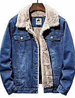 cheap -mens denim jean jacket fleece lining jeans jacket cowboy style denim jacket (light blue, x-large)