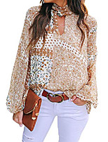 cheap -women floral print keyhole v neck long sleeve shirts casual loose tunic blouse tops,xx-large yellow