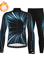 cheap -21Grams Men's Long Sleeve Cycling Jersey with Tights Winter Fleece Polyester Dark Navy Bike Clothing Suit Thermal Warm Fleece Lining Breathable 3D Pad Warm Sports Graphic Mountain Bike MTB Road Bike