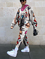 cheap -Women's Streetwear Geometric Two Piece Set Sweatshirt Pant Loungewear Drawstring Tops