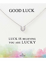 cheap -sparkling lucky horseshoe necklace (silver)