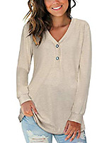 cheap -women's long sleeve v-neck button causal tops henley blouse loose t shirt(apricot,s)
