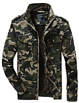 cheap -Men's Hiking Jacket Military Tactical Jacket Winter Outdoor Camo / Camouflage Warm Ultraviolet Resistant Quick Dry Lightweight Jacket Top Cotton Single Slider Hunting Fishing Climbing Army Green Khaki