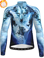 cheap -21Grams Men's Long Sleeve Cycling Jersey Winter Fleece Polyester Blue Animal Wolf Bike Jersey Top Mountain Bike MTB Road Bike Cycling Fleece Lining Breathable Warm Sports Clothing Apparel / Stretchy